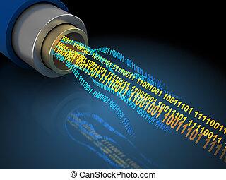 binair, draad, data