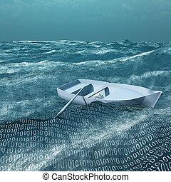 binair, drijvend, oceaan, lege, rowboat