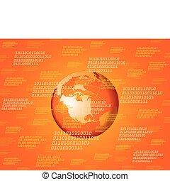 binair, globe, achtergrond