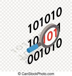 binair, isometric, code, glas, vergroten, pictogram