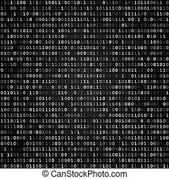binair, scherm, code, black