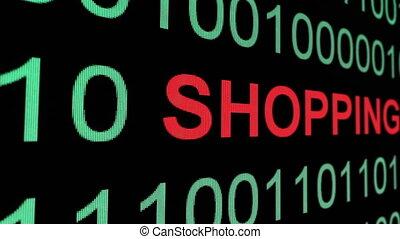 binair, tekst, op, shoppen , data