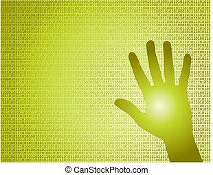 binair, vector, hand