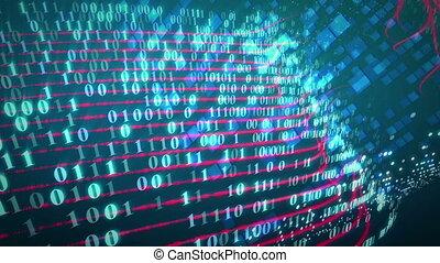 binaire, écran, code, ruisseau