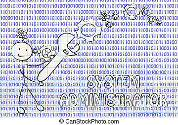 binaire, administrateur, travaux, système, haut, monture, clé, code, homme