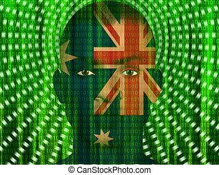 binaire, australie, homme, ruisseler