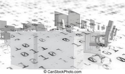 binaire, bureau, contre, composition, traitement, vide, codage, numérique, données