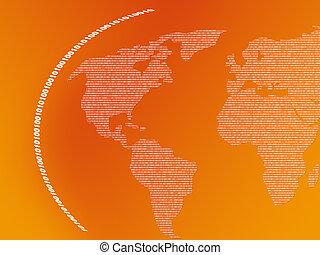 binaire, carte, mondiale