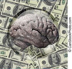 binaire, cerveau, et, devise usa