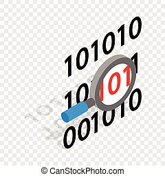 binaire code, en, vergrootglas, isometric, pictogram