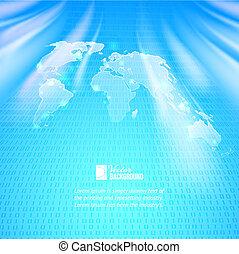 binaire code, kaart, abstract, achtergrond, wereld