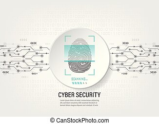 binaire code, scanderen, digitale achtergrond, vingerafdruk
