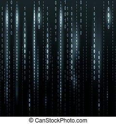 binaire code, schittering, scherm, zwarte achtergrond,...
