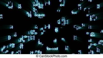 binaire code, willekeurig, toevallig, dons, gloeiend, black , getallen, achtergrond, het vallen
