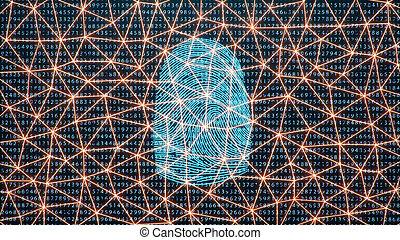 binaire, concept, balayage, protection., empreinte doigt, illustration, identification., accès, doigt, fournit, numérique, impression, sécurité, biométrie, code., 3d