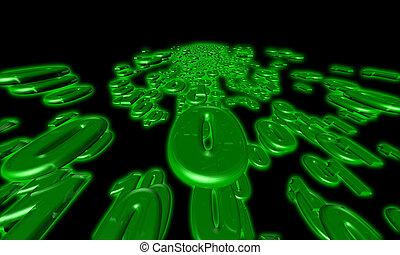 binaire, couler, données, communication