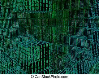 binaire, cubes, fond
