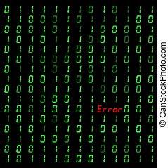 binaire, erreur, arrière-plan noir, signe