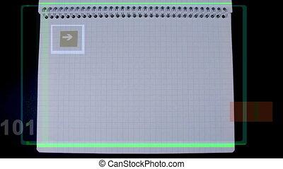 binaire, fait, résumé, nombre, papier, imprimé, séquences,...