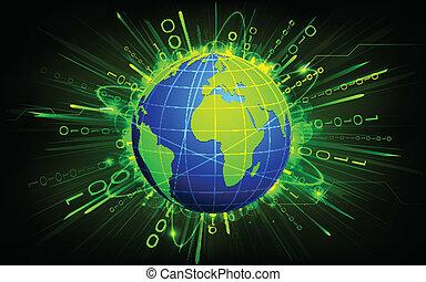 binaire, fond, la terre