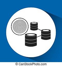 binaire, globe, concept, données, réseau
