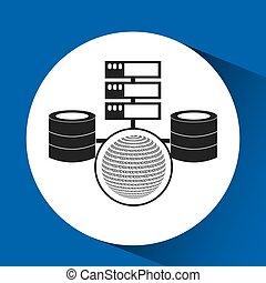 binaire, globe, concept, données, système
