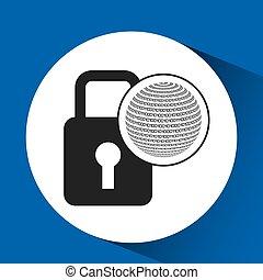 binaire, globe, concept, sécurité, cadenas