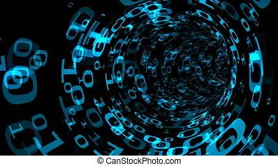 binaire, informatique, render, univers, tunnel, résumé, immitation, engendré, fond, tourbillon, voyage, 3d