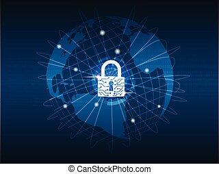 binaire, protéger, code, réseau, arrière-plan., global, cadenas, fermé, mondiale