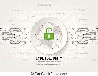 binaire, protéger, code, réseau, global, cadenas, fond, mondiale
