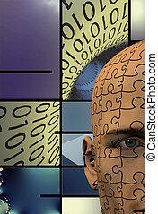 binaire, puzzle, résumé, fond, homme