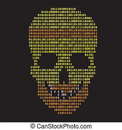 binaire, résumé, arrière-plan noir, crâne
