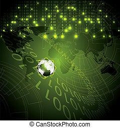 binaire, résumé, fond, global, technologie, vert