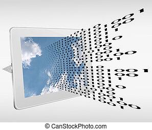 binaire, ruisseau, calculer, -, tecnology, données, nuage