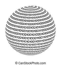 binaire, sphère, cercle, code, icône