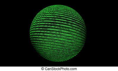 binaire, sphère, données, concept, tourner