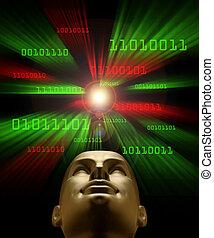 binaire, tête, code, intelligence, voler, artifical, vortex, par, symbolized, vert, androïde, pour, rouges