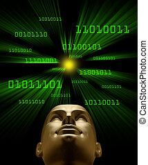 binaire, tête, code, intelligence, voler, artifical, vortex...