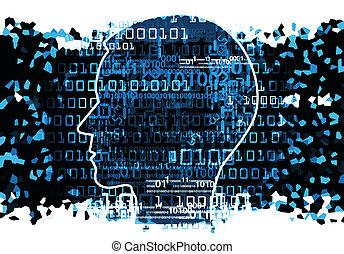 binaire, tête, codes, chaos, humain