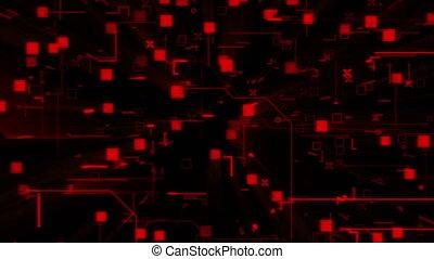 binaire, techno, arrière-plan animation, rouges