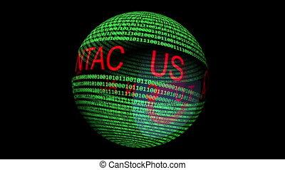 binaire, texte, tourner, sphère, nous, contact, données