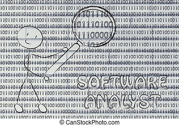 binaire, travaux, inspection, logiciel, code, analyste, homme