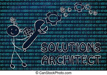 binaire, travaux, solution, haut, monture, architecte, clé, code, homme