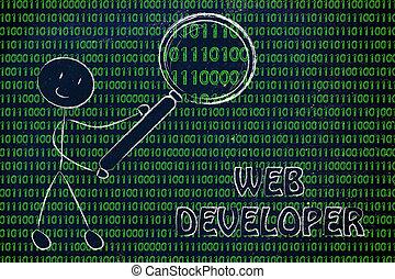 binaire, travaux, toile, inspection, révélateur, code, homme