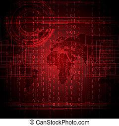 binario, astratto, fondo, globale, tecnologia, rosso