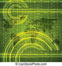 binario, astratto, globale, tecnologia, fondo, verde