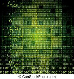 binario, astratto, tecnologia, fondo