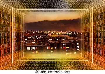 binario, city., tunn, digitale