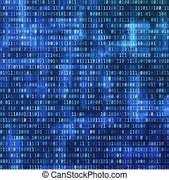 binario, computer, stream., illustrazione, dati, vettore, fondo, digitale, vista., tecnologia, code., design.