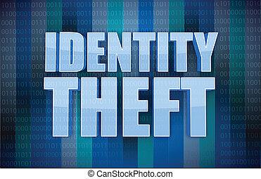 binario, concetto, parola, furto identità